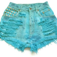 Blue high waisted jean shorts S by deathdiscolovesyou on Etsy