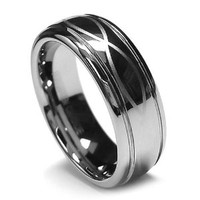 Top Value Jewelry - Men Tungsten Wedding Band, His Tungsten Carbide Ring, Infinity Lucky Ring in Chrome Color, Men 8MM (size 8-15) - Half Sizes Available (10)