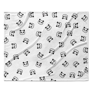 "Tobe Fonseca ""Pandamonio Panda Pattern"" Black White Animals Pattern Digital Illustration Fleece Throw Blanket"