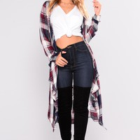 Mad About Plaid Cardigan - Navy/Wine