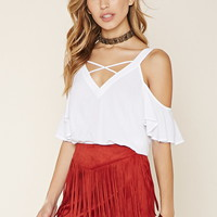 Fringed Faux Suede Mini Skirt
