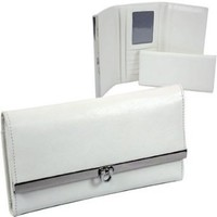 Leather like classic checkbook wallet - Creamy White