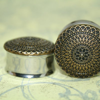 Double Sided Plugs gauges: Retro Gold Flowers, 1 inch