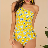 Summer New Fashion Floral Print Stripe One Piece Bikini Swimsuit Yellow