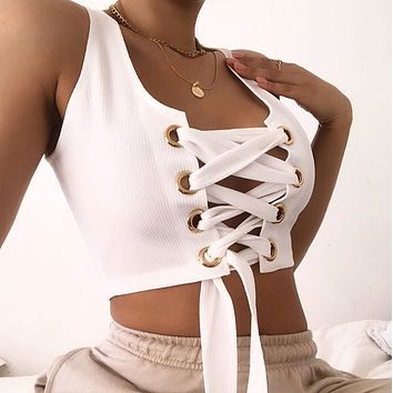 Fashion and personality slim open navel chest strap vest