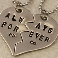 Always Forever Infinity Necklaces - Couples Jewelry - Girlfriend Boyfriend Gift - Hand Stamped Best Friend Necklaces - Stainless Steel