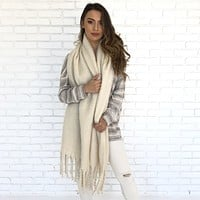 First Light Cashmere Oversized Scarf in Ivory