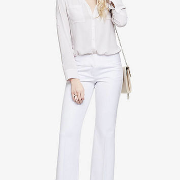 WHITE WIDE WAISTBAND FLARE EDITOR PANT from EXPRESS