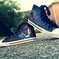 The Walking Dead Hand Painted Rick Grimes Graveyard Hand Painted Canvas High Top Shoes
