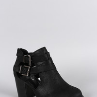 Soda Cutout Buckle Strap Ankle Booties