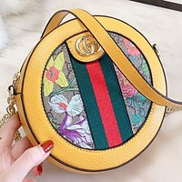 GUCCI Fashion New Floral Stripe More Letter Leather Shoulder Bag Crossbody Bag Women Yellow