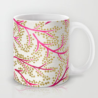 Pink & Gold Branches Mug by Cat Coquillette
