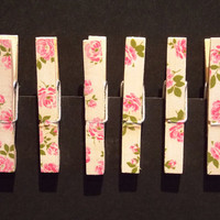 Wooden Pegs, Floral, Stationary, Paper Tidy, Flowers, Pink, , Desk Tidy, Peg Decorations, Decoupage, Upcycled Vintage Pegs, Hanging Pegs