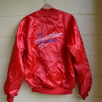 Vintage 1980s Chevrolet The Heartbeat of America Jacket Collectible Racing Jacket Satin Bomber Jacket