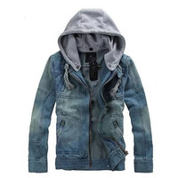 Mens Casual Denim Hooded Jacket