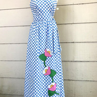 Fabulous Vintage Maxi Dress, Ava Bergmann Swirl, NOS with Tags, Size 14, Blue and White Wrap Dress with Floral Applique, 1970s