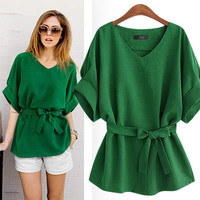 Casual V-Neck Loose Shirt With Belt