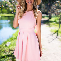 Pleated In Pink Flare Dress