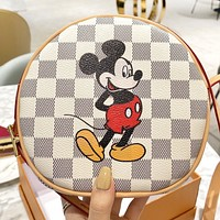 LV & Disney Fashion New Tartan Mouse Print Leather Round Shoulder Bag Crossbody Bag White