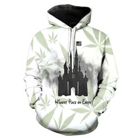 2017 New Fashion Men's sweatshirt castle print hoodies casual tracksuits hoody tops with pockets Free shipping s to 6xl