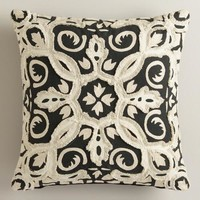 Black and White Frayed Throw Pillow