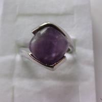 Amethyst Stone Silver Plated Ring - Size 9