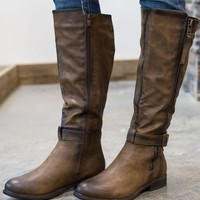 DCCKGE8 Double Strapped Riding Boot - Brown