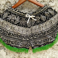 Shorts elephants print fabric with tassles fringes Boho pattern Gypsy Tribal Styles festival Clothing Bohemian Summer Clothes in black green