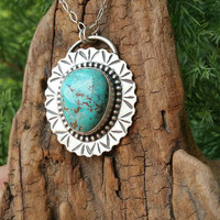 Blue Oasis Turquoise and Sterling Silver Necklace.