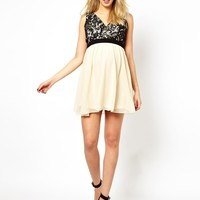 Little Mistress Maternity Lace Body Skater Dress