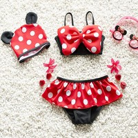 Childrens Swimsuit Cute 2-8 years Girls With Cap Mickey Mouse Red Dot Swimwear Costume Children Kids Girls  Bathing Swimming Suit 2018 NEW KO_25_2