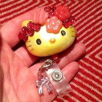 Hello Sunshine and Blossoms Hello Kitty ID BADGE HOLDER w/ Bow Clip-on