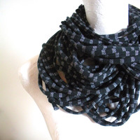 Black Infinity Scarf Silver Metallic Stripes Steampunk Upcycled Clothing Winter Scarf Gypsy Boho Scarf Gifts Under 75