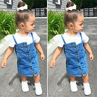 USSweet Toddler Kid Baby Girl Clothes Casual Shirt Denim Dress Jean Skirt Outfit