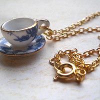 Alice in Wonderland Blue Floral Teacup Necklace, Gold, Tea cup, Flower