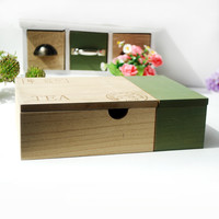 Simple Design Vintage Wooden Green Storage Box Accessory Box [6282992902]