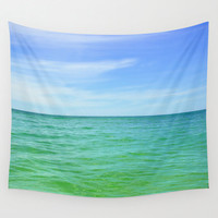 Green Waters - Wall Tapestry, Beach Surf Nautical Hanging, Blue & Green Coastal Ocean Landscape Interior Accent. In 51x60 / 68x80 / 88x104