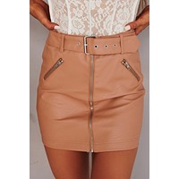 Leather Me Up Faux Leather Mini Skirt (Tan)