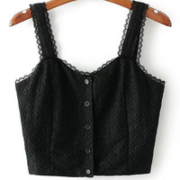 Black Sweetheart Strap Lace Crop Top