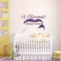 A Mermaid Sleeps Here Wall Decal Quote Girls Room Decor- Mermaid Vinyl Wall Decals for Girls Bedroom- Wall Decals Nursery Baby Wall Art Q298