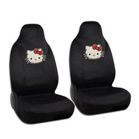 Licensed Official New Sanrio Hello Kitty Big Face Red Bow Car Front Bucket Seat Covers 2pcs Set