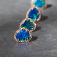 14kt gold and diamond free form opal studs – Luna Skye
