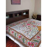 Cotton Tree of Life Tapestry Wall Hang Tablecloth Rectangle Bed sheet White