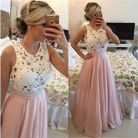 Elegant Pearl Pink  Long Evening Dresses Lace Evening Gowns With Plearl Chiffon Cheap Evening Party Dress 2016 Robe De Soiree