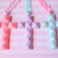 Pastel Goth Glitter Cross Necklace (Choose Your Color)