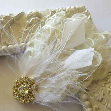 Wedding Hairpiece, Great Gatsby Wedding,1920s, Ivory, White, Bridal Head Piece, Accent Small , Fascinator,