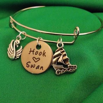 Once Upon a Time Hook and Swan Charm Bangle. Adult One Size Fits Most.