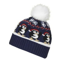 Penguin Beanie Hat - Navy Blue