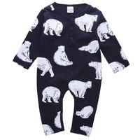 Infant Baby Girl Boy Cotton Bear Romper Long Sleeve Xmas Jumpsuit Outfits Casual Clothes