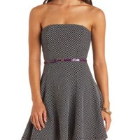 Belted Strapless Polka Dot Dress by Charlotte Russe - Black Combo